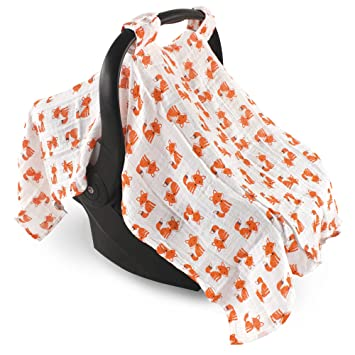 b565040a3b5c Amazon.com  Hudson Baby Muslin Cotton Car Seat Canopy