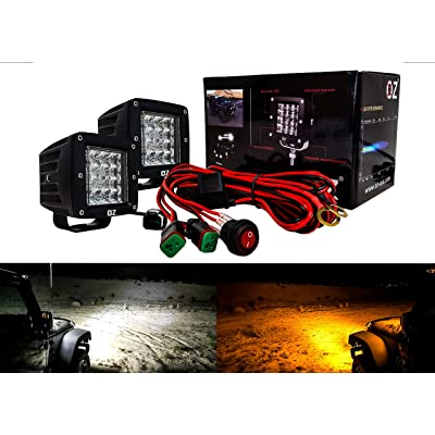"3"" Dual Color High Output White Amber LED POD light Harness DOT Black Covers Changing Flasher Strobe Optic Lens Emergency Driving Fog Spot Light for Offroad Truck SUV ATV Motorcycle Marine: Automotive"