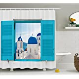 Ambesonne House Decor Shower Curtain Set, Window with View of Classical Building with Blue Domes Oia Santorini Greece, Bathroom Accessories, 69W X 70L Inches
