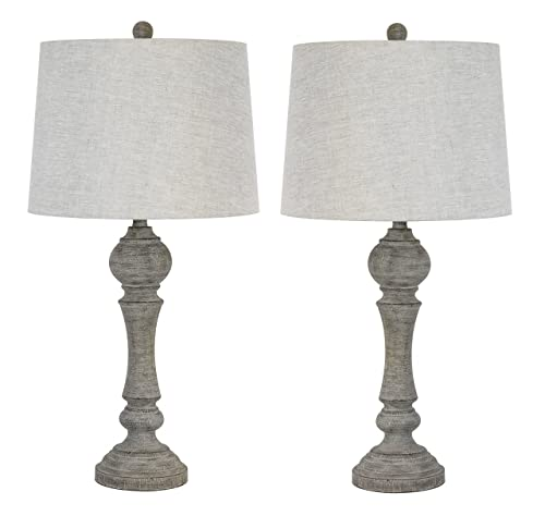 Grandview Gallery 32 Reclaimed Grey Table Lamps w Linen Lamp Shades, Set of Two, Farmhouse and Country Style