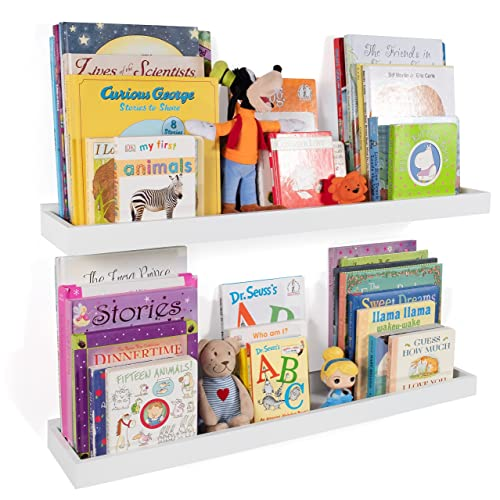 Wallniture Philly Nursery Bookshelf – Floating Book Shelves for Kids Room – 31 Inch Picture Ledge Book Tray Toy Storage Display White Set of 2