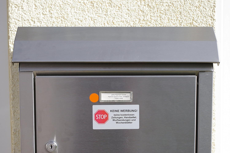   mit 3 Jahren UV-Garantie! peha/® Briefkasten Aufkleber kein Papier 4-teilig SET STOP KEINE WERBUNG! Wetter/&Schmutz best/ändig