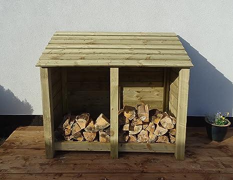 Arbor Garden Solutions 4 ft Heavy Duty Log Store – Caseta para Madera y Madera de