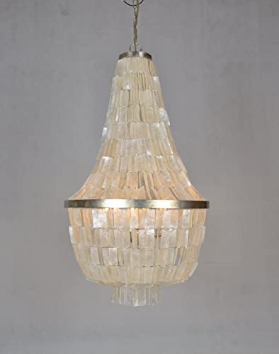 Emory 6 Light Silver Leaf Large Chandelier with CAPIZ Shell