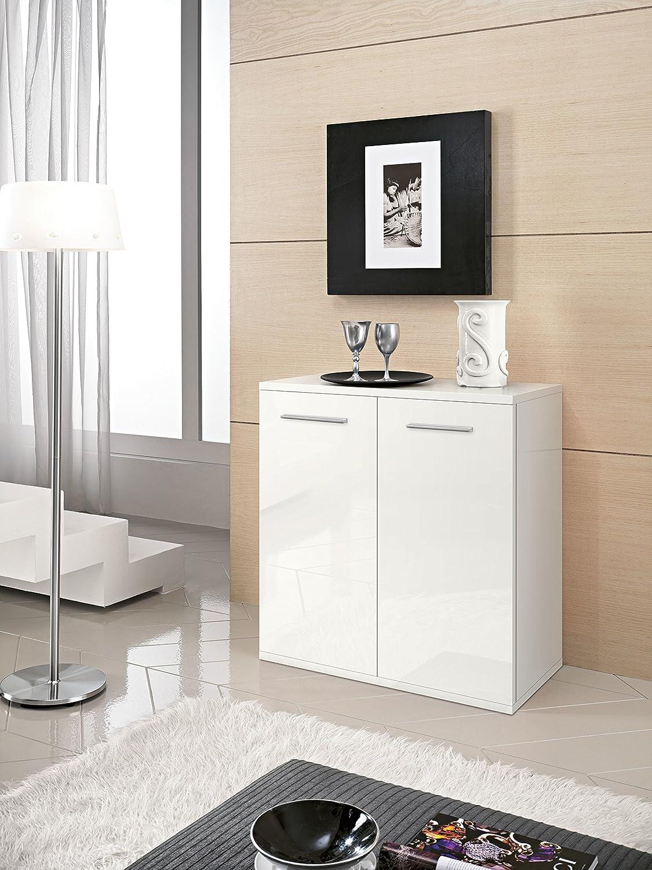 80x36 82H. InHouse srls Mobile Moderno in Legno con 2 Ante Bianco Graffiato