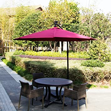 Kinbor 9 Feet Outdoor Patio Umbrella Solar Powered LED Lighted Hanging  Umbrella Window Awning Garden Furniture