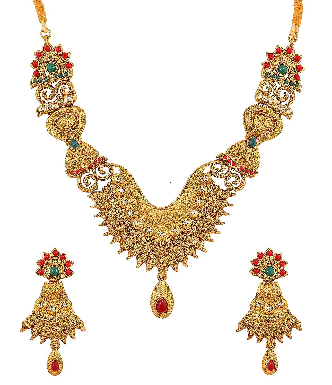 Touchstone Alliage de bijoux indiens du sud ethnique faux rubis et faux /émeraude designer collier de mari/ée ensemble pour femme Multicolore