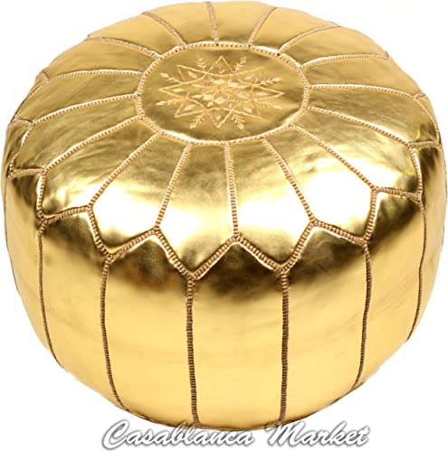 Casablanca Market Moroccan Embroidered Faux Metallic Cotton Stuffed Leather Pouf, Gold