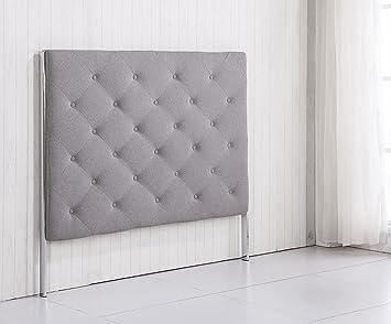 cabezal de cm tapizado de tela gris ceniza arena para camas de o cm