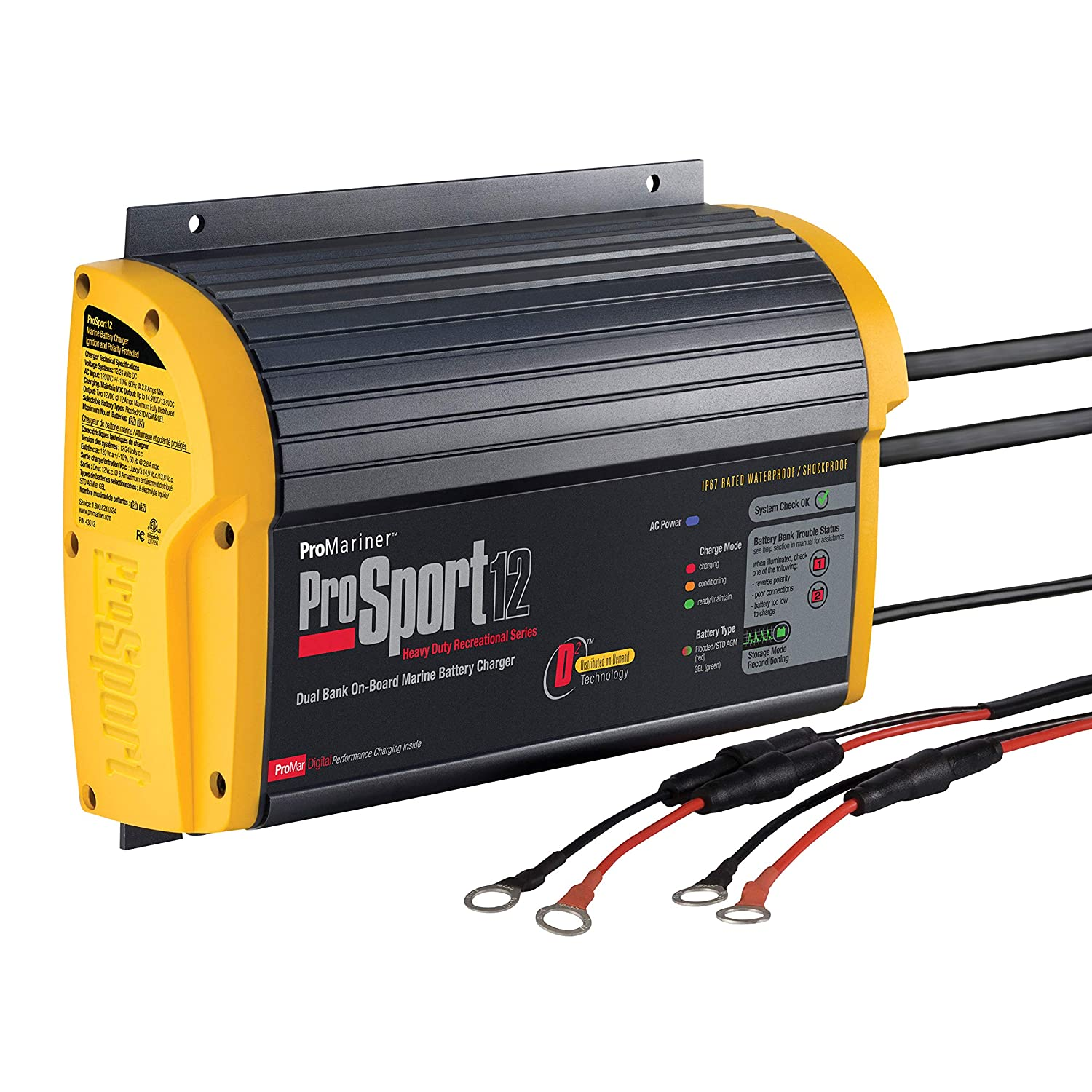 Promariner 43012 Prosport 12 Amp 24 Volt 2 Bank Electrical Wiring Registration Board Generation 3 Battery Charger Fishing Nets Sports Outdoors