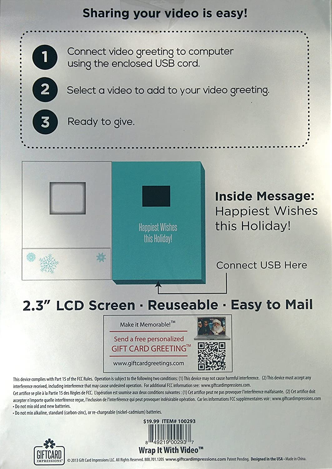 Amazon Video Holiday Greeting Card 2 Minute Recordable Lcd