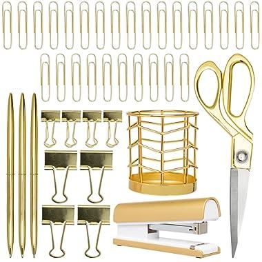 Gold Desk Accessories   7 Desktop Essentials (44 Items Total)   Office Supply Set & Organizer in Gold Décor