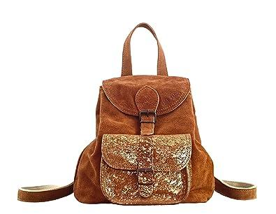 photos officielles 82f15 4436a Paul Marius LE BAROUDEUR Naturel - Doré petit sac à dos en cuir suédé  nubuck de vachette style vintage