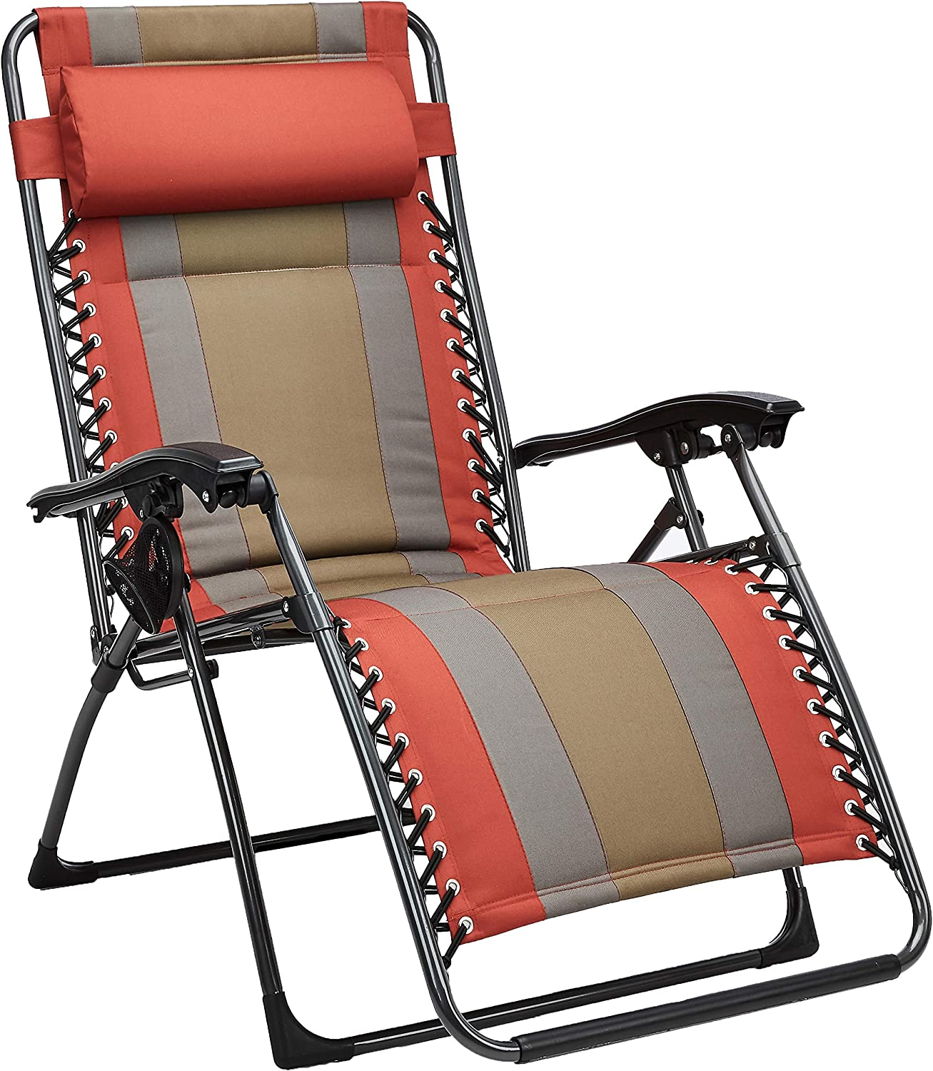AmazonBasics Outdoor Padded Zero Gravity Lounge Beach Chair - 65 x 29.5 x 44.1 Inches, Red