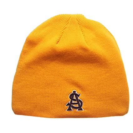 7e6c54e96a2 ZHATS Arizona State Sun Devils Yellow Edge Skull Cap - NCAA Cuffless Winter  Knit Beanie Toque