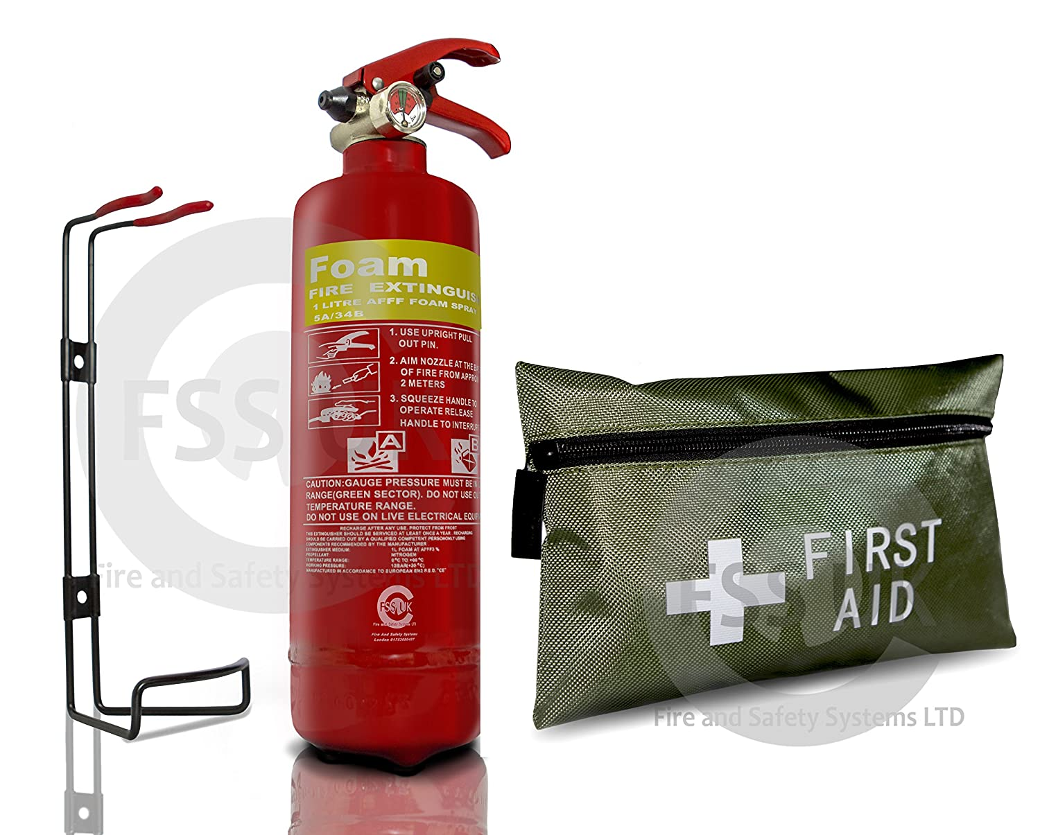 (Commisioned with service certificate )FSS UK PLUS CAR / VEHICLE FIRE SAFETY PACK. 1 LITRE AFF FOAM FIRE EXTINGUISHER CE MARKED WITH 5 YEAR WARRANTY & 42 PIECES 1ST AID KIT IDEAL FOR CARS, MINI BUSES, TAXIS, CARAVANS, SMALL BOATS, SMALL KITCHEN AREAS, DOME