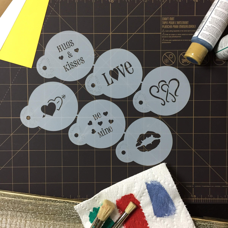Designer Stencils C096 Valentine Cupcake/Cookie Stencils, Beige/Semi-Transparent by Designer Stencils