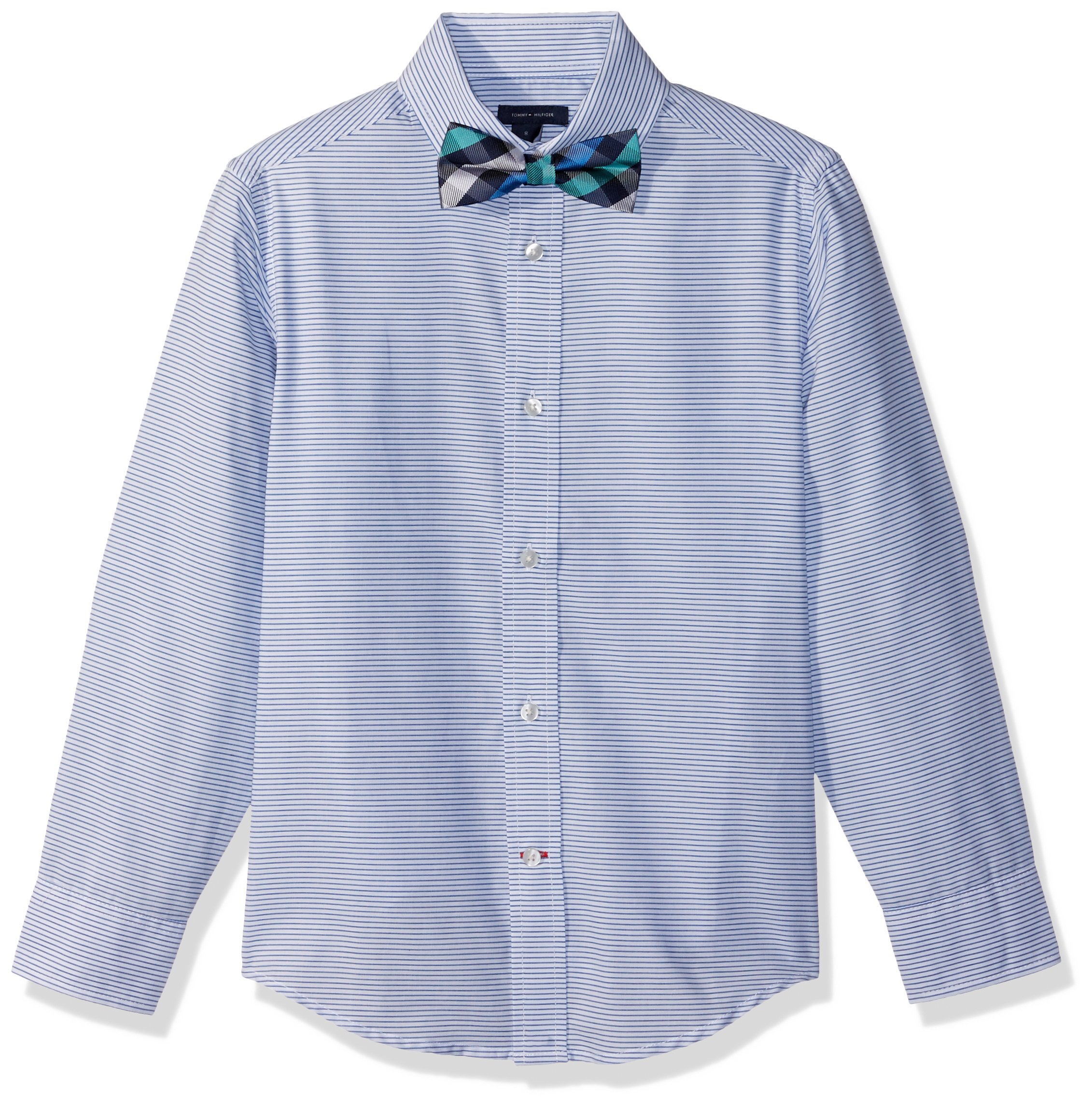 Tommy Hilfiger Boys Long Sleeve Dress Shirt with Bow Tie, White Stripes 16