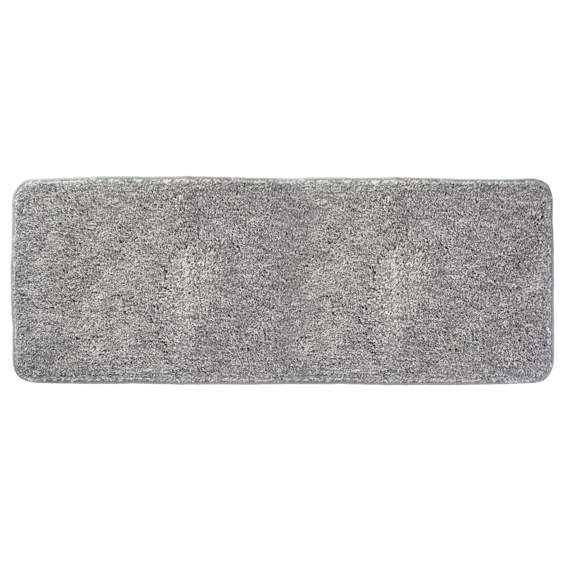 mDesign Soft Microfiber Polyester Non-Slip Extra-Long Spa Mat/Runner, Plush Water Absorbent Accent Rug for Bathroom Vanity, Bathtub/Shower, Machine Washable - 60'' x 21'' - Heathered Gray