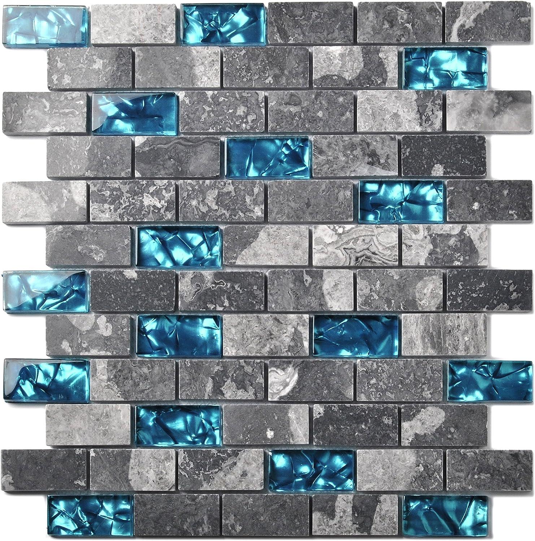 Ocean Teal Blue Glass Nature Stone Tile Kitchen Backsplash 3D Bath Shower Accent Wall Decor Gray Wave Marble 1 x 2 Subway Art Mosaics TSTNB03 (10 PCS [11.8'' X 11.8''/Each])