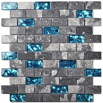 Ocean Teal Blue Glass Nature Stone Tile Kitchen Backsplash 3D Bath Shower Accent Wall Decor Gray