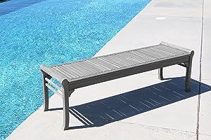 Vifah Renaissance Outdoor Patio 5-Foot Hand-Scraped Wood Backless Garden Bench