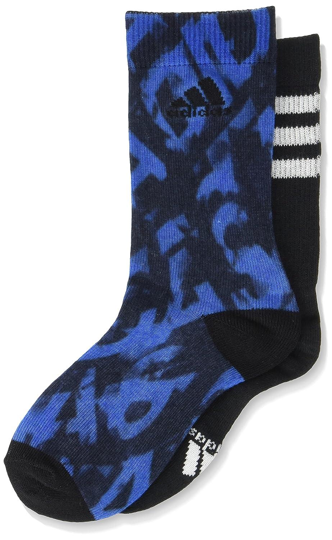 Adidas AY6551 - Calzini Bambini, Multicolore (Blue-Collegiate Navy-Black-White ), 23-26, (pacco da 2)