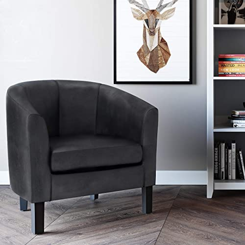 Wynden Hall Parker 30 inch Wide Transitional Tub Chair Faux Air Leather – 30 inch Wide Distressed Black