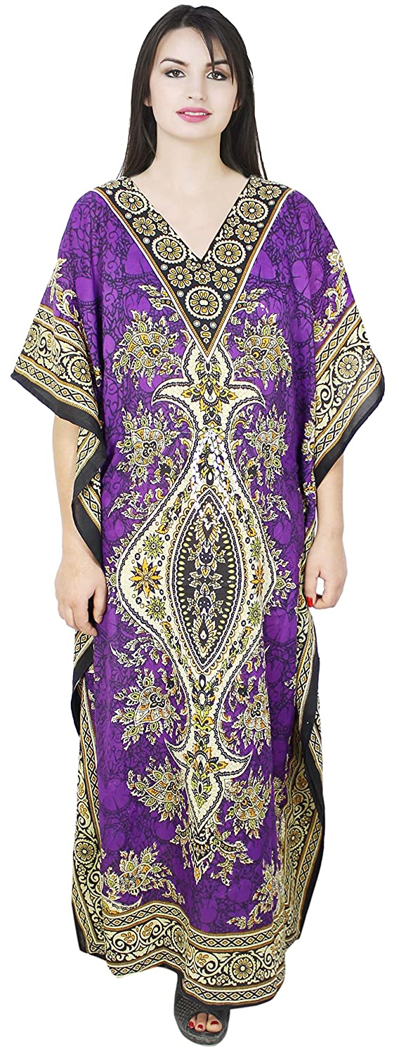 SKAVIJ Womens Kaftan Nightgown Tunic Kimono Style Dress Beach Cover up Plus Size M-caftan_long_003_purple
