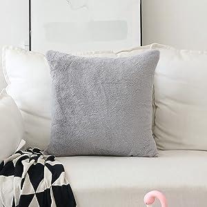Home Brilliant Pillow Covers Plush Lambskin Faux Fur/Suede European Throw Pillow Sham Super Soft Large Cushion Cover for Sofa, 26 inches, 66x66cm, Grey