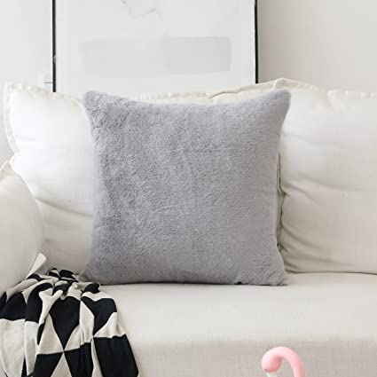 Amazon.com: HOME BRILLIANT Pillow Covers Plush Lambskin Faux Fur ...