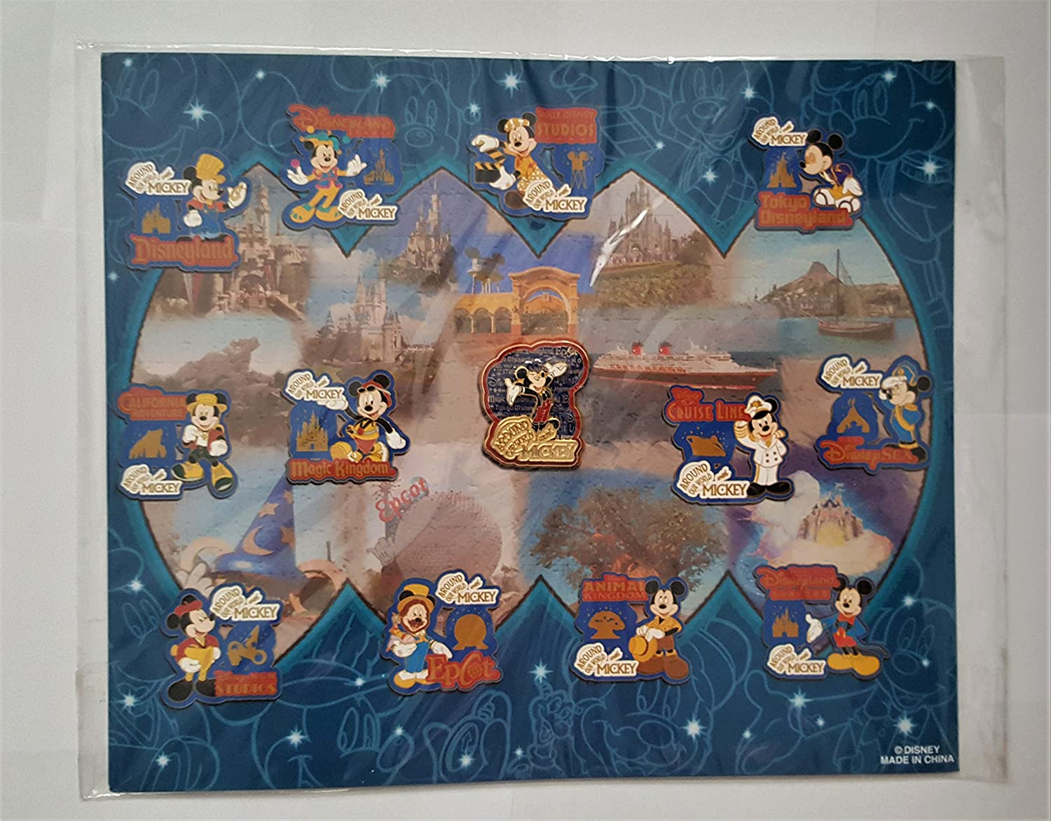 Around Our World With Mickey - Mickey Mouse Pin & Artist Illustration Background with Completer Pin, Pin Pic # 41056, 41057