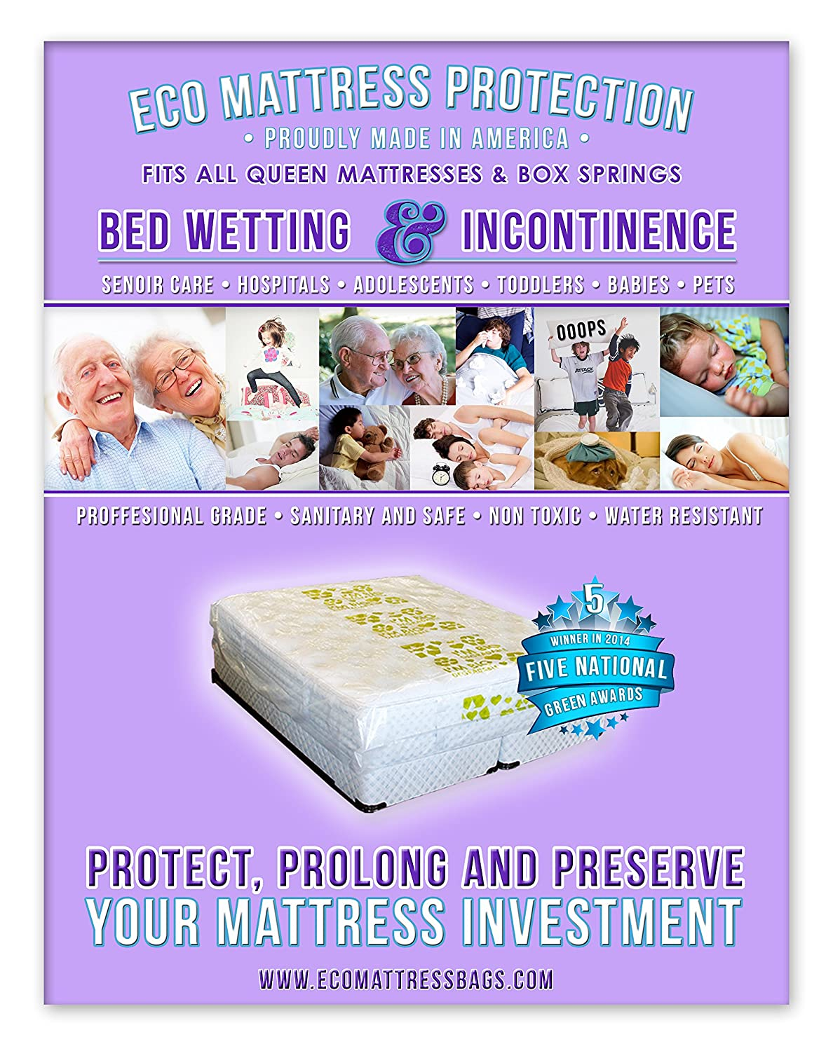 1 Queen Size Mattress Protector Designed for Bed Wetting and Incontinence. Fits All Queen and Full Size Mattresses. Compatible with All Pillow Tops and Box Springs. Winner of 5 National Green Awards in 2014. Professional Hosp