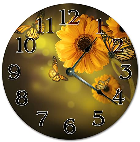 10.5u0026quot; PERFECT SUNFLOWER AND BUTTERFLY PORTRAIT Clock   Large  10.5u0026quot; Wall Clock   Home