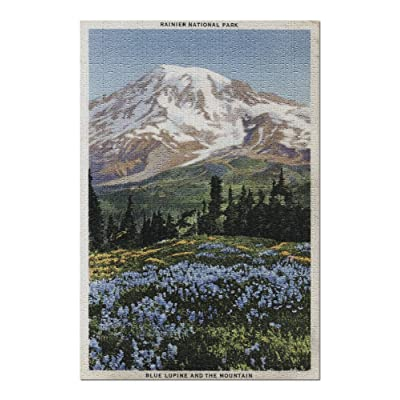 Rainier National Park, WA - View of Mt. Rainier, Blue Lupine Blooming (Premium 1000 Piece Jigsaw Puzzle for Adults, 20x30, Made in USA!): Toys & Games