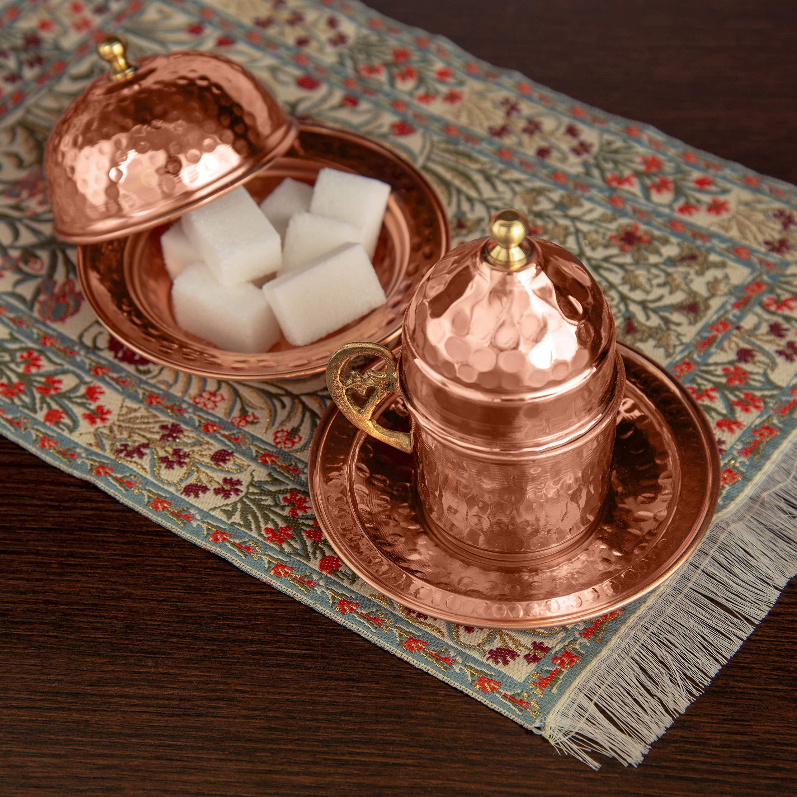 Copper Turkish Coffee Set, Two, Greek Armenian Arabic Espresso Porcelain Cups, Tray & Cezve by Mandalina Magic by Mandalina Magic (Image #9)