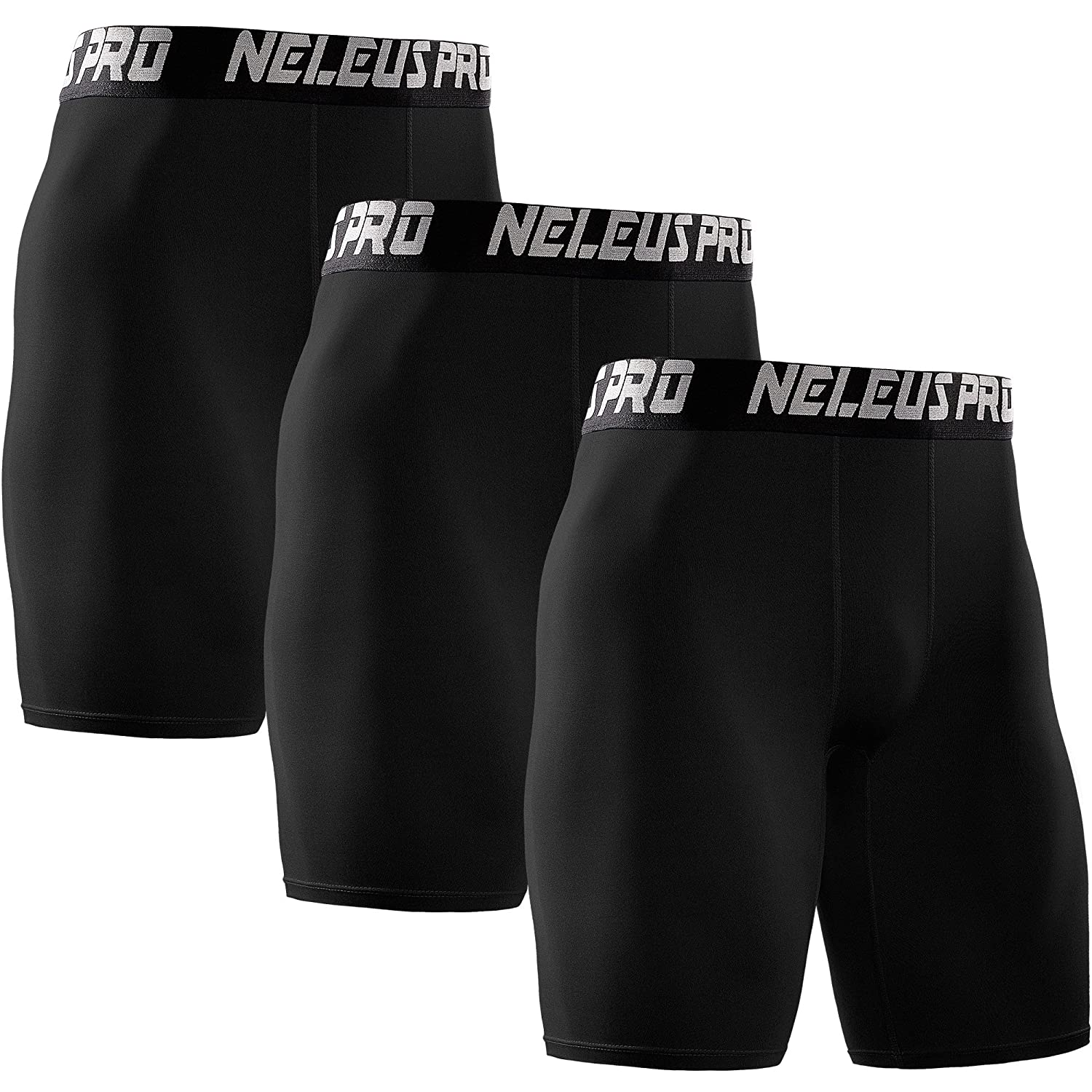Neleus Men's 3 Pack Athletic Compression Short, 6028, Black, US L, EU XL DK6028BXL#3