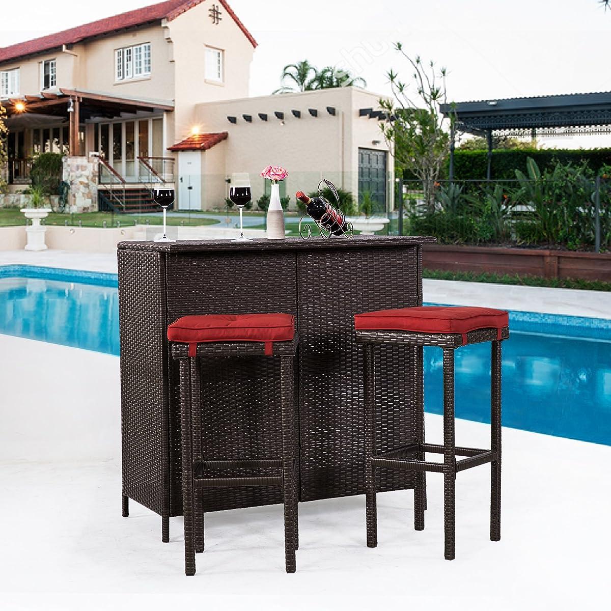 Cloud Mountain 3 PC Wicker Bar Set Patio Outdoor Garden Backyard Rattan Table & 2 Stools Barstool Furniture Set, Brick Red Cushion