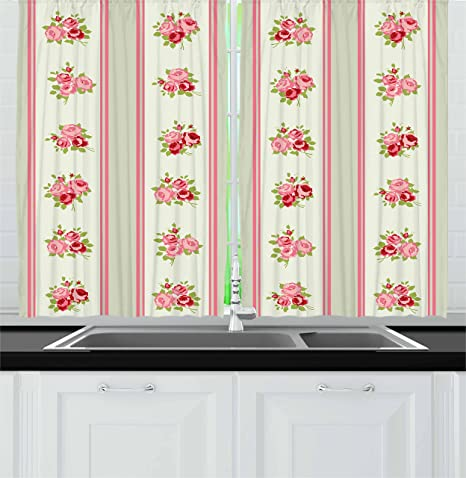 Lunarable Shabby Chic Kitchen Curtains, Country Pattern with Vertical  Borders and Corsages of English Roses, Window Drapes 2 Panel Set for  Kitchen ...