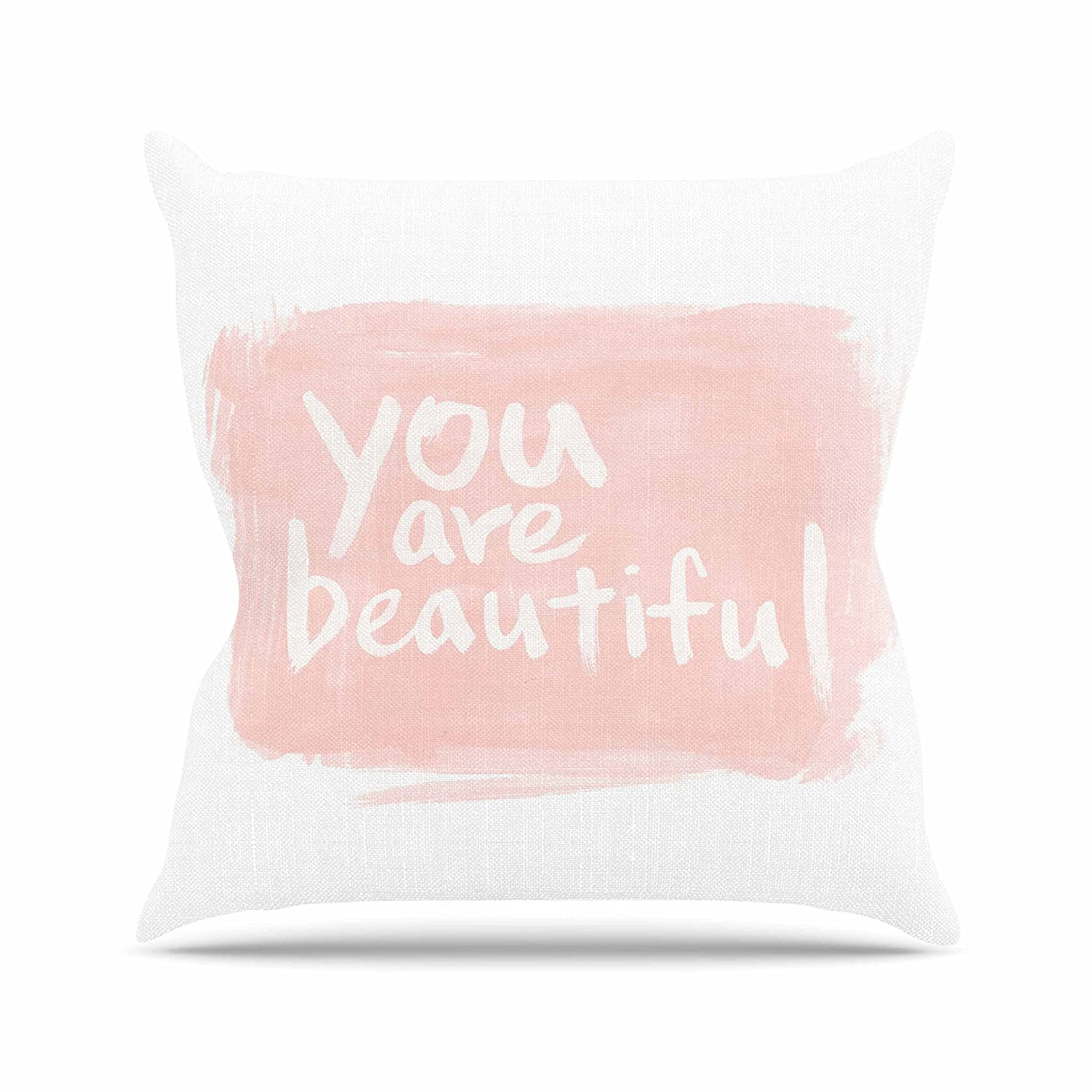 Kess InHouse Qing Ji Brush Lettering Beautiful Peach White Throw Pillow, 18 by 18'