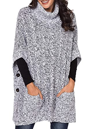 b2e4770c7c Yingkis Women s Poncho Sweater Turtle Cowl Neck Batwing Sleeve Pullover  Sweaters with Pockets