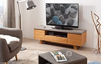 Macabane Meuble Tv Chene Clair Beton 150 X 45 X 51 Cm Amazon Fr