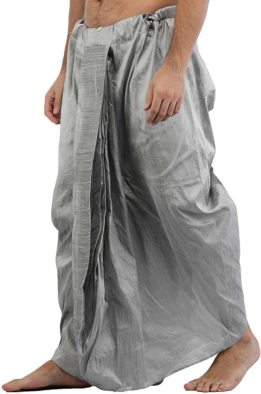 Maenner-Dhoti-Dupion-Silk-Plain-handgefertigt-fuer-Pooja-Casual-Hochzeit-Wear Indexbild 16