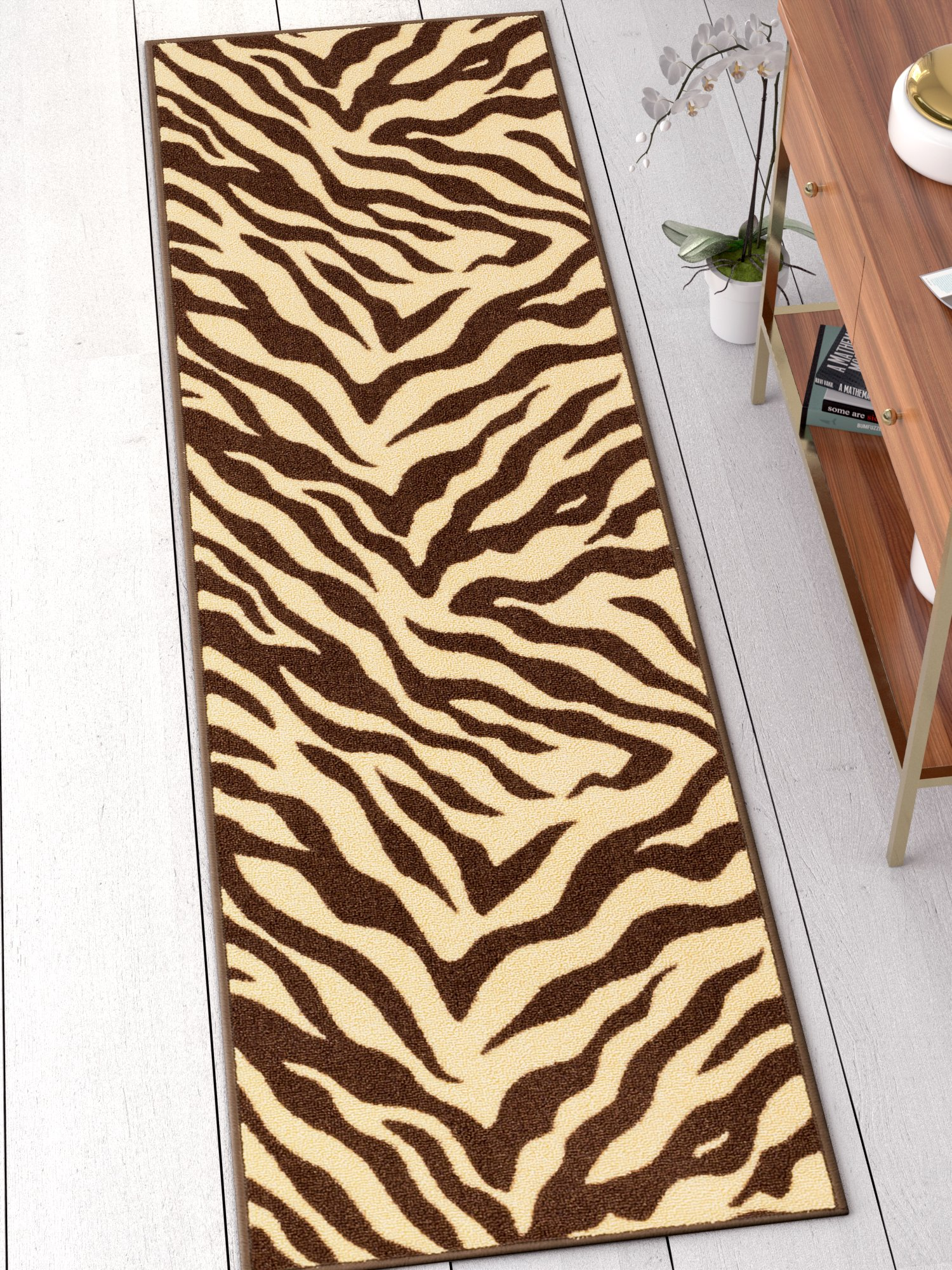 Well Woven 25012 Zebra Kings Court Modern Animal Print 2' x 7 Indoor/Outdoor Area Rug, 2' x 7' Runner, Brown