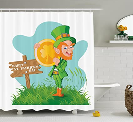 Amazon.com: Ambesonne St. Patrick\'s Day Shower Curtain, Festive ...