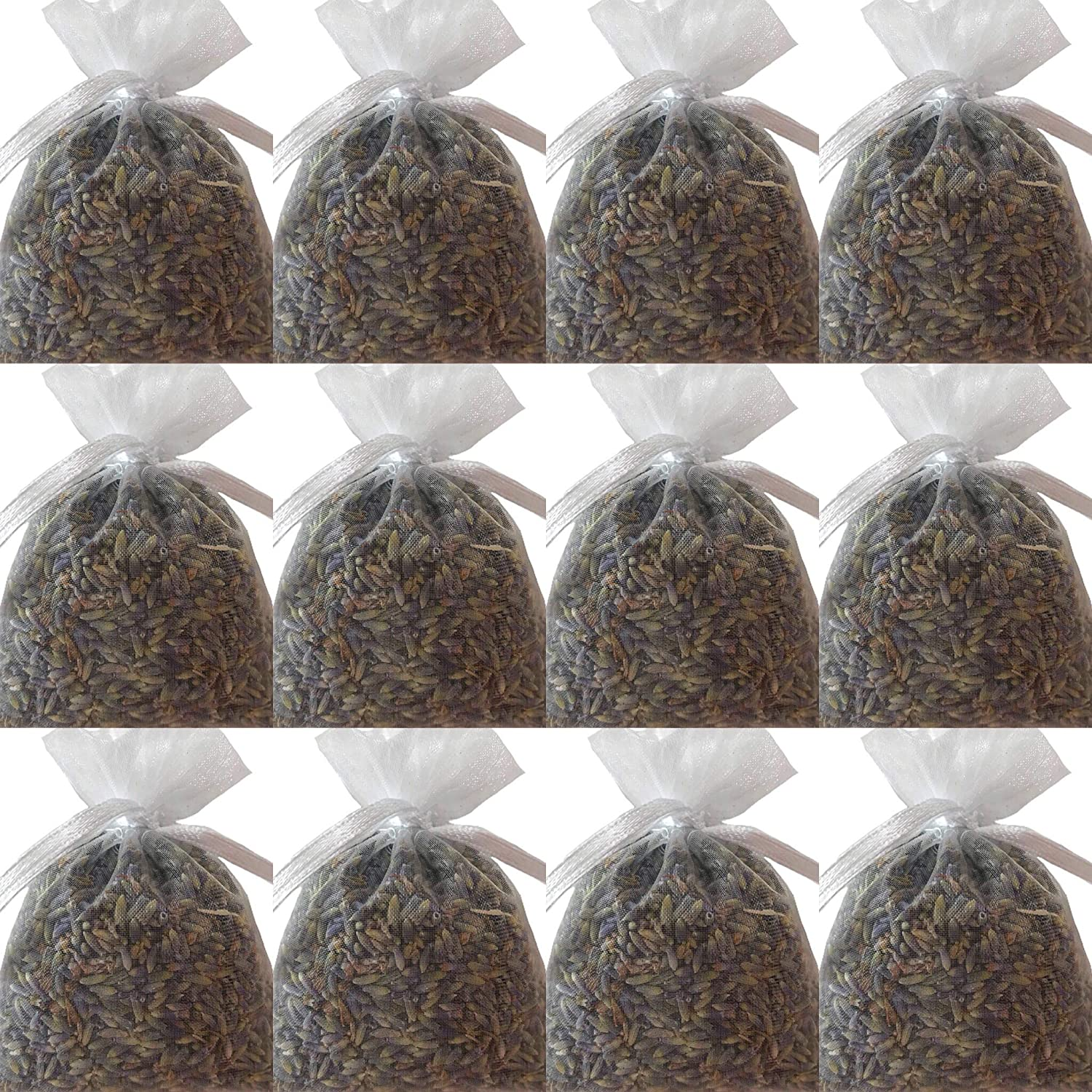 3/' x 3/' Organza Sachets hand-filled with French Lavender Buds Zziggysgal 12-pack