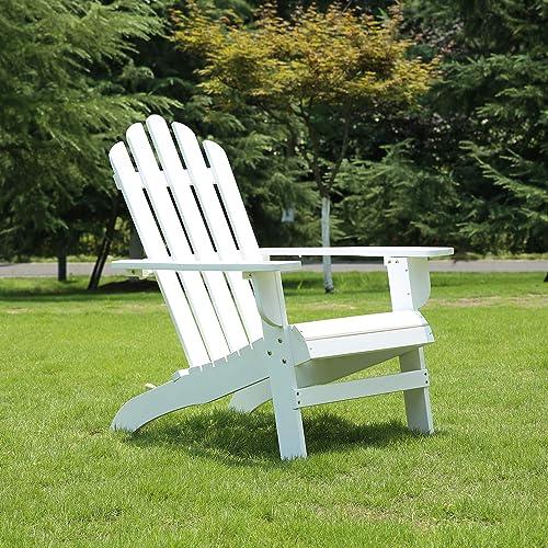Azbro SongSen Outdoor Wooden Fashion Adirondack Chair Muskoka Chairs Patio Deck Garden Furniture,White