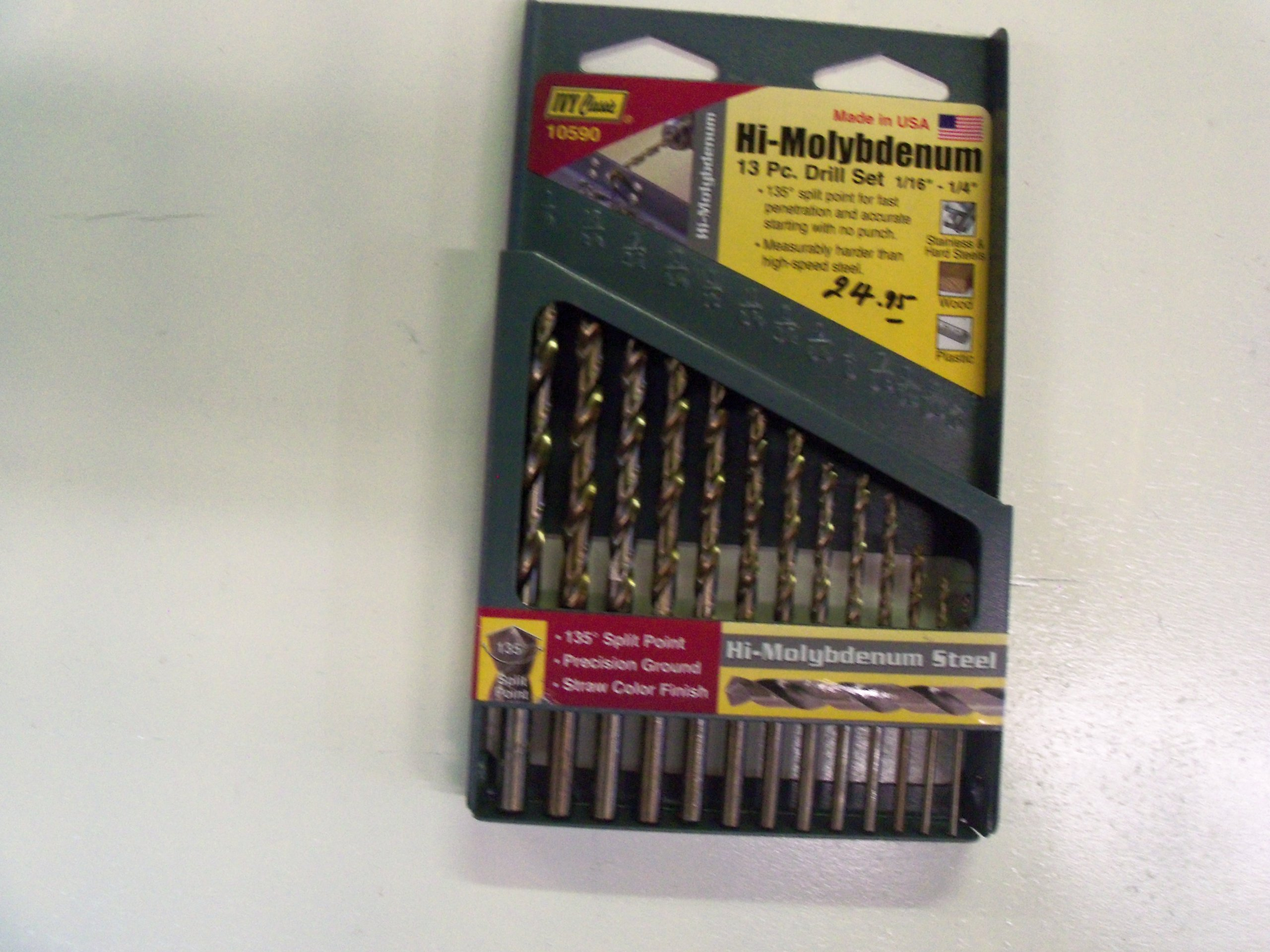 IVY Classic 10590 13-Piece Hi-Molybdenum Steel Drill Bit Set, 135-Degree Split Point, USA, Sturdy Metal Case