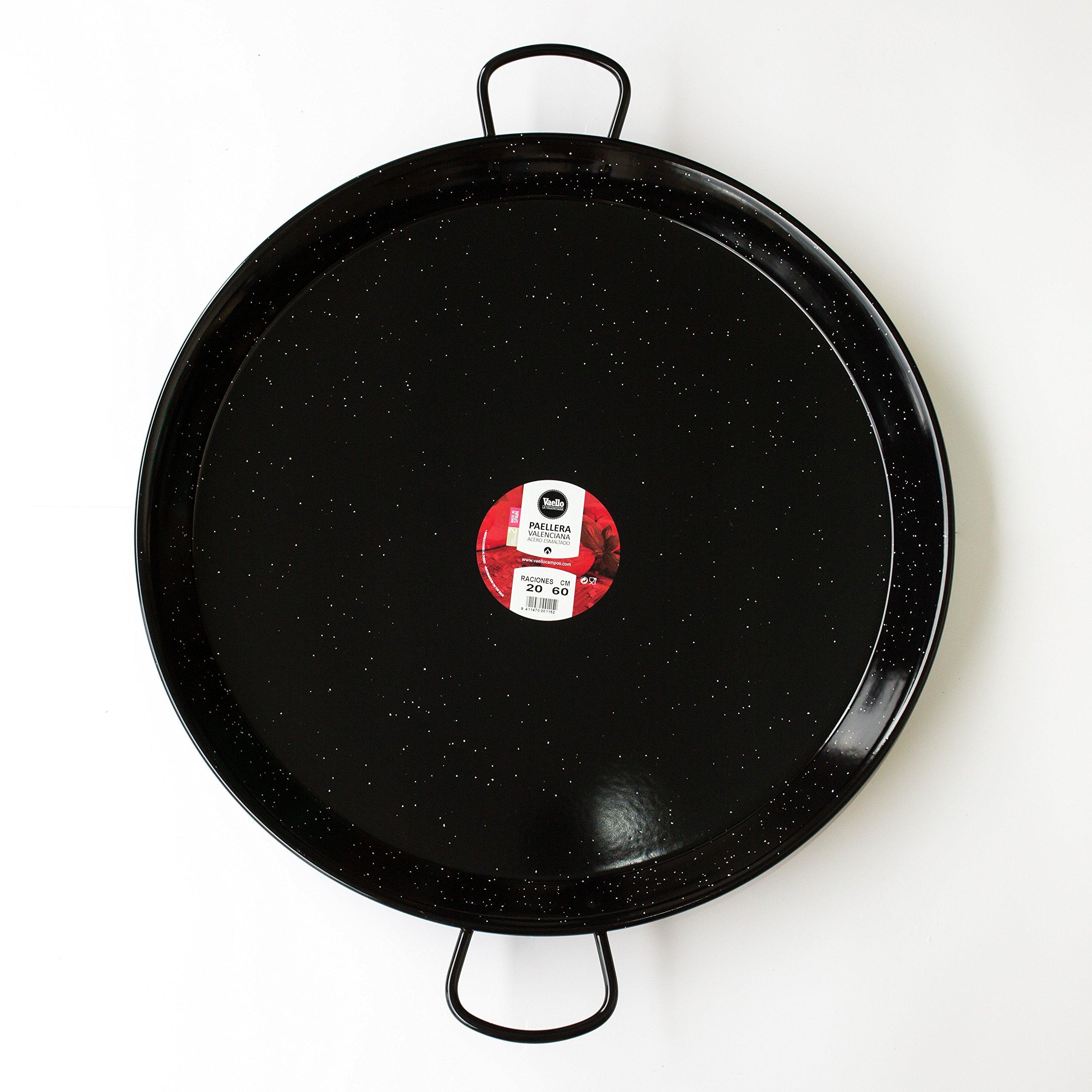 Enamelled Steel Valencian paella pan. 24Inch / 60cm / 20 Servings