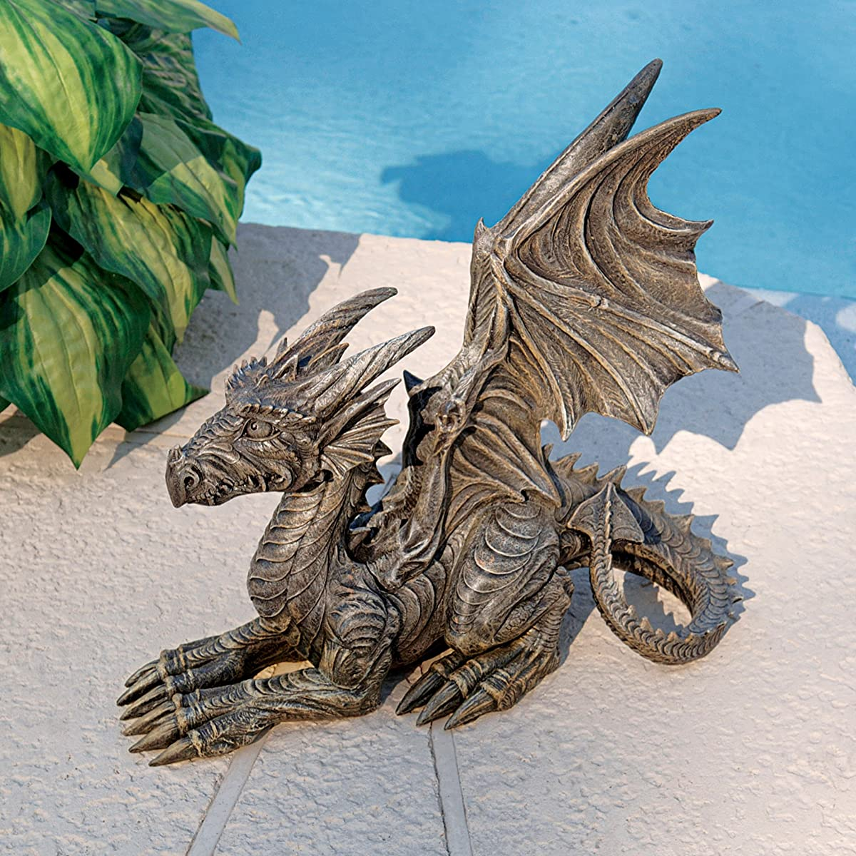 Design Toscano CL51642 Desmond The Dragon Gothic Decor Statue, 16 Inch, Greystone